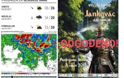 Odgađa se Srednjovjekovni viteski turnir na Jankovcu