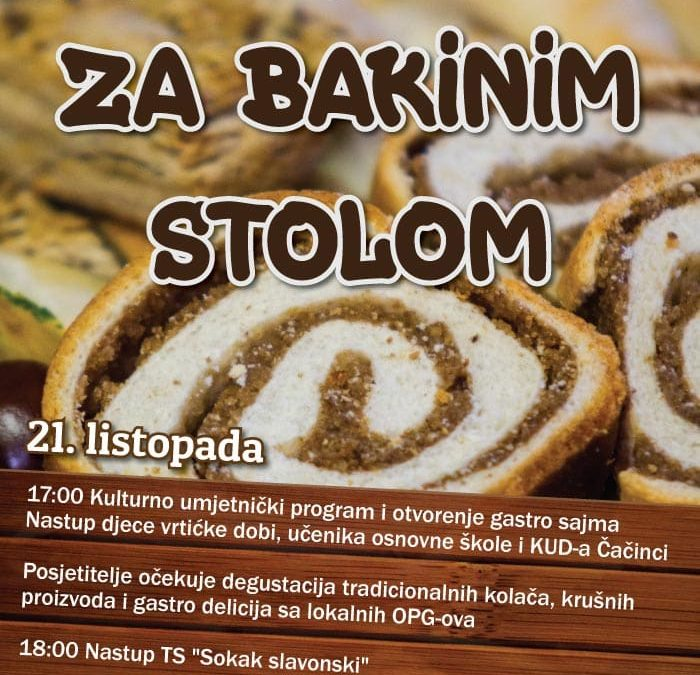 """Poziv na kulturno gastronomsku manifestaciju """"Za bakinim stolom"""""""